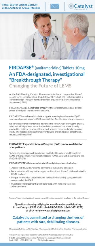 Second FIRDAPSE® Expanded Access Program (EAP) eBlast